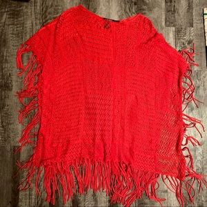 Ralph Lauren LAUREN Cotton Fringe Long Poncho